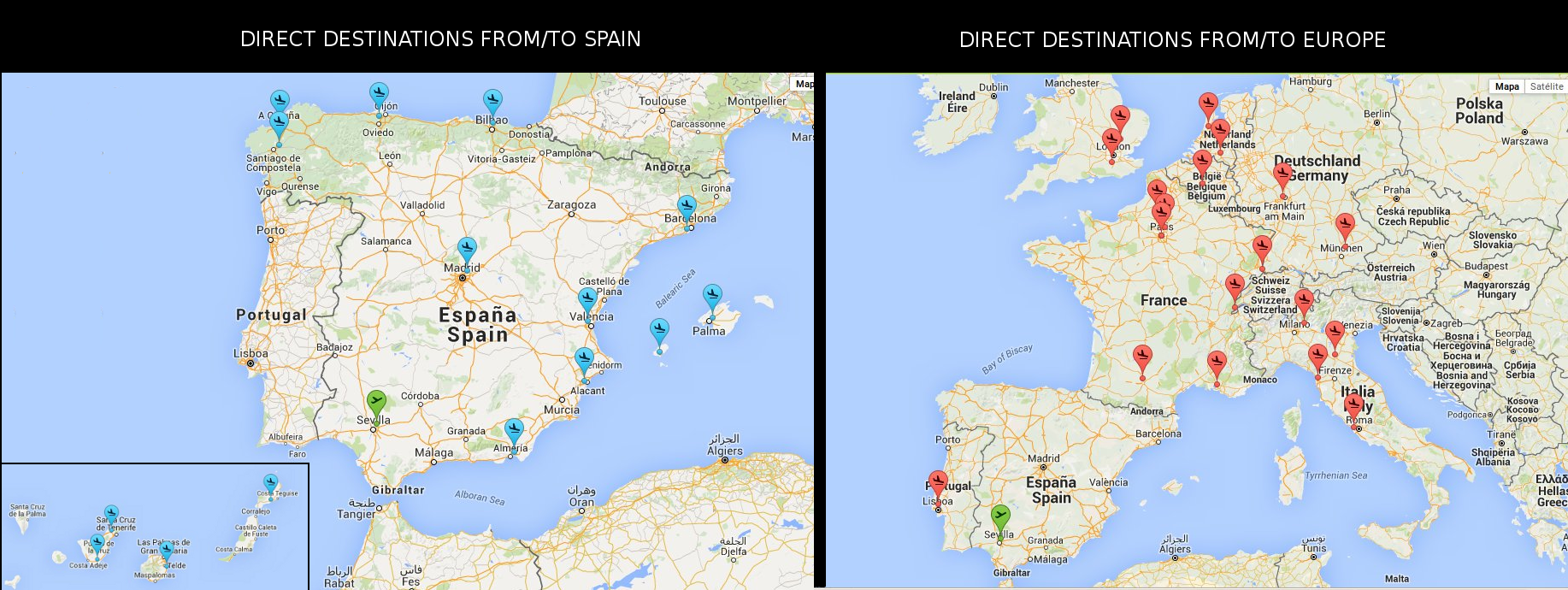 Destinations Map From/To Seville